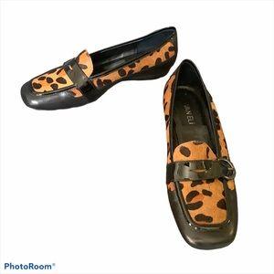 VANELI Leopard Print Calf Hair Loafers 8